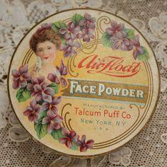 Antique Edwardian Face Powder Box VIOLETS at TheFrenchLaundry
