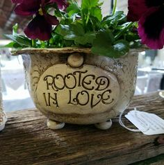 Ceramic, hand built, quote, Planter ROOTED IN LOVE