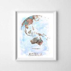 Australia, world map, globe, watercolor world map, world map printable, world map print, wall art, digital file, download world map
