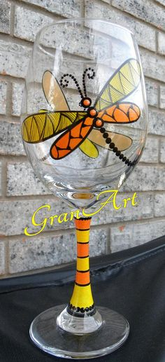 Dragonfly Wine Glass Orange, Dragonfly, Hand Painted Wine Glass, Painted Wine Glasses, Dragonflies, Friend Gift, Party Favors, Wine Glass