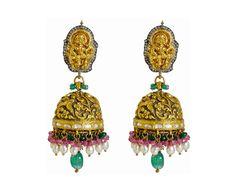 nakshi jumkas in gold - Google Search India Jewelry, Ethnic Jewelry, Gold Jewelry, Jewelery, Indian Earrings, Gold Earrings, Drop Earrings, Traditional Earrings, Girls Best Friend