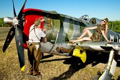 AMAZING WWII MILITARY FIGHTER NOSE ART - HE EVEN HAS A LADY TO POSE  FOR IT!