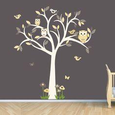 Owl decal, Owl tree wall sticker, Goldish Yelllow Grey Owl, owl wall decal, nursery owl decor, Lemonade Spice Design via Etsy