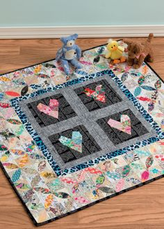 Love You Baby Quilt, a two-block project from the book 25 Patchwork Quilt Blocks Volume 2 by Katy Jones