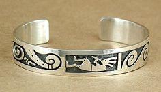 Hand made Native American Hopi Indian Jewelry; Hopi Sterling Silver overlay kokopelli bracelet