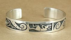 Hand made Native American Hopi Indian Jewelry; Hopi Sterling Silver overlay kokopelli bracelet