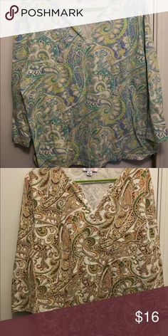 Set of 2 - 1x soft casual tops Pretty & comfy! Two Denim & Co. Long sleeve tops in lovely paisley patterns. Perfect for the transition into fall. Denim & Co. Tops Blouses