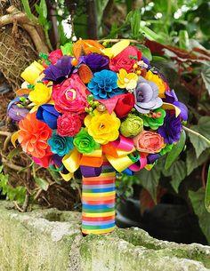 rainbow bridal boquets | Rainbow Wedding Bouquet and Centerpiece