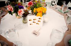 I don't know where else to put this one but this wedding reception had Eric Carle animal prints on the tables instead of table numbers.  This is the bee table!