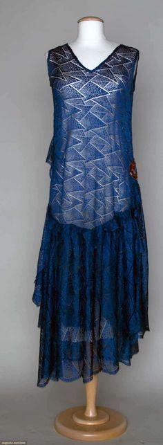Beaded Blue Lace Dress, 1930's