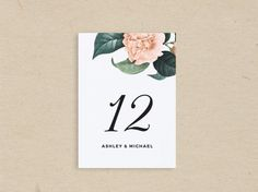 Printable Wedding Table Number DIY Table Number by PaperDainty