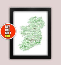 Ireland personalised art print  Ireland print by pienosudesigns