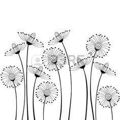 dessin noir et blanc: fleurs des champs sur fond blanc Illustration