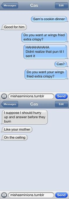 "Dean and Castiel Texting; ""I think this could be a sore subject for the angels now…"""