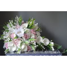 Bridal Bouquets - Tear - Brooch - Gerbera, Rose, Calla & Lily Of The Valley - Choose Rose & Gerbera Colours - shown here in pastel pink shades but 1000s of color combinations available Pink Wedding Theme, Rose Wedding, Bridal Flowers, Bridal Bouquets, Uk Bride, Pink Color Schemes, Purple Baby, Wedding Arrangements, Gerbera
