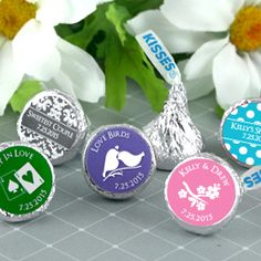 what we did!-Personalized Chocolate Hersheys Kisses -Sweet favor idea for the bridal shower and reception.