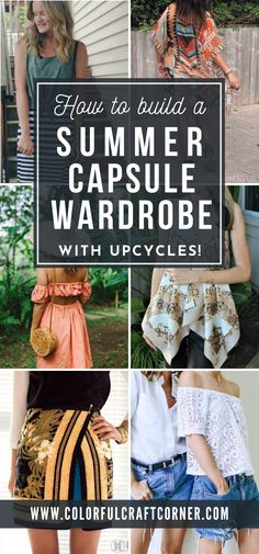 Do you want to make a summer capsule wardrobe? Learn how to build a summer capsule on a budget with upcycle ideas for the clothes you want to throw out. #summercapsule #clothesupcycle #clothesrefashion #capsulewardrobeonabudget Capsule Wardrobe Work, Capsule Outfits, Boho Outfits, New Outfits, Summer Outfits, Grey Tee, Office Outfits, White Tees, Upcycle