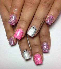 Pink nails with bling