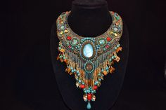 Caribbean Dreaming....Bead Embroidered collar by TraditionsJewels on Etsy https://www.etsy.com/listing/190428541/caribbean-dreamingbead-embroidered