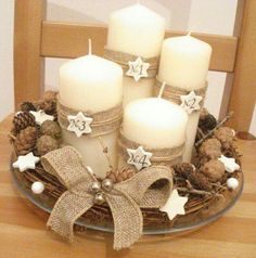 How to Make Easy Christmas Decorations on a Budget - Burlap Wrapped Candles - DIY xmas ornaments womenfashion christmasfashion fashion # Christmas Advent Wreath, Easy Christmas Decorations, Christmas Candles, Christmas Centerpieces, Rustic Christmas, Simple Christmas, Christmas Art, Winter Christmas, Advent Wreaths