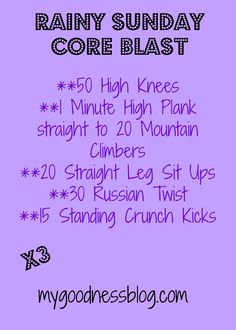 Sunday Core Blast .. now I just need to google what half of these mean!  lol