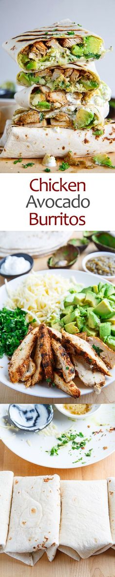 Chicken and Avocado Burritos - so easy to make, you simply wrap the chicken, avocado, cheese, salsa verde, sour cream and cilantro up in a tortilla, grill it and enjoy!