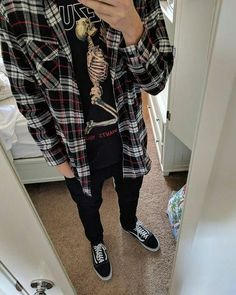 Picked up a Yeezus shirt Punk Outfits, Grunge Outfits, Cool Outfits, Fashion Outfits, Party Fashion, Trendy Outfits, Vans Outfit, Flannel Outfits Summer, 80s Fashion Men