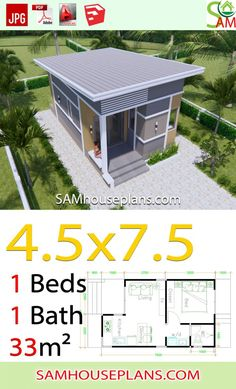 Small House Plans with One Bedroom Shed roof – Sam House Plans - Home & DIY Modern House Floor Plans, Home Design Floor Plans, Bungalow House Plans, Modern Tiny House, Cottage House Plans, Craftsman House Plans, Country House Plans, Small House Plans, One Bedroom House Plans