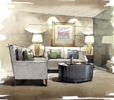 ideas design interior sketch perspective watercolor illustration d… Ideen Design Innenskizze Perspektive Aquarell Illustration Design skizziert. Interior Design Renderings, Drawing Interior, Interior Rendering, Interior Sketch, Home Interior Design, Interior Architecture, Interior Shop, Interior Painting, Nordic Interior