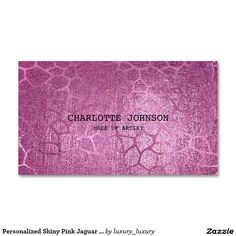 Personalized Shiny Pink Jaguar Skin Vip Card Pack Of Standard Business Cards Make Your Mark, Create Your Own, Vip Card, Jaguar, Business Cards, Wedding Planner, Packing, Retro, Pink