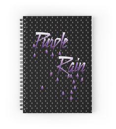 Notebook - purple rain - raining purple on black by #stuARTconcepts #rain #purple #notebook #typography #spiral