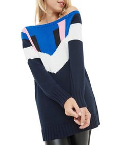 Navy pure cotton off-shoulder jumper Sale - SOSANDAR Sale