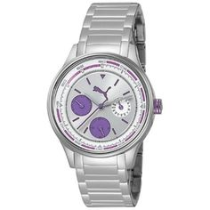 @Overstock.com - Puma Womens Stainless Steel Motor Watch - This stylish and fashionable womens Motor watch from Puma features a stainless steel case with a matching silver steel bracelet. The silver dial is home to silver hands, hourly purple indices and three chronograph subdials.  http://www.overstock.com/Jewelry-Watches/Puma-Womens-Stainless-Steel-Motor-Watch/7683015/product.html?CID=214117 $84.99