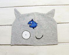 Kocia czapka z uszami, dla dzieci, szara, ryba - ARTandCAT - Dzianina