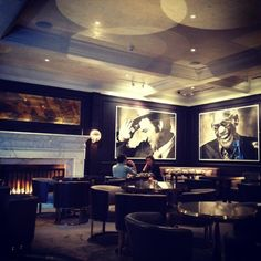 decor at Bar Bel-Air featuring photography of icons Restaurant Interiors, Restaurant Design, Restaurant Bar, Beautiful Hotels, Beautiful Places, Dorchester Collection, Hotel Bel Air, Hollywood Icons, Nagoya