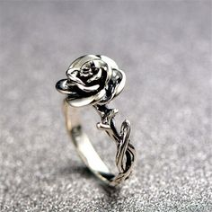 Eye Catching Silver Rose Fashion Ring [100520] – $58.99 : jewelsin.com