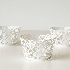 12 White Lace Heart Shimmer Laser Cut Cupcake Wrappers 12 CT