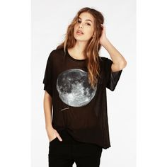 Wildfox Blue Moon Wrecked Crewneck Tee ($34) found on Polyvore featuring women's fashion, tops, t-shirts, shirts, dirty black, ribbed tee, blue shirt, crew t shirts, thin t shirts and blue short sleeve shirt