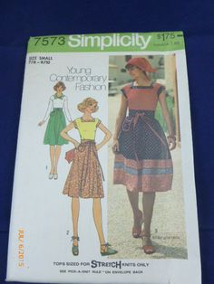 7573 Simplicity SZ Small 7/8 9/10 Pattern Young Contemporary Fashion Young Junior Teens Pullover Tops Skirt Scarf Vintage 1976 Uncut by 2xisnice on Etsy