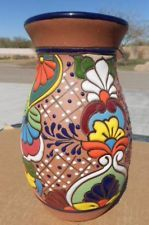 TALAVERA Vase Southwest Mexican folk art pottery Hand Painted clay pot