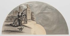 Unmounted paper fan leaf. Lithographed and hand colored mourning scene: woman with child placing wreaths at tomb left on silvered background.