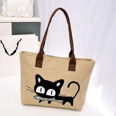 Women Small Canvas Bag Cute Cat