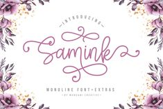 Samink Monoline Font + Extras by wandani. Handwriting Fonts, Script Fonts, All Fonts, Calligraphy Fonts, Handwritten Quotes, Open Type, Character Map, Illustrator Cs, Lowercase A
