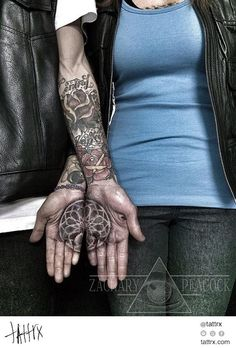 Zach Peacock - His & Hers Palm Mandala (Forearms by Other Tattooers)