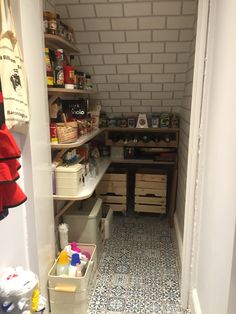 Pantry under the stairs finally taking shape.