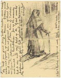 Old Woman Seen from Behind - Vincent van Gogh . Created in The Hague in Located at Van Gogh Museum. Find a print of this Letter Sketches Paul Gauguin, Vincent Van Gogh, Van Gogh Drawings, Van Gogh Paintings, Rembrandt, Desenhos Van Gogh, Van Gogh Arte, Van Gogh Pinturas, Artist Van Gogh