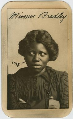 Minnie Bradley refuses to look at the camera in her Omaha Police Court mug shot. Minnie, 27, and 5 foot 2 inches tall was arrested in Omaha on December 13, 1902 for larceny from a person. She listed her residence on north 11th Street in Omaha and her occupation as prostitute. The description also noted that Minnie wore a wig. Historic Nebraska Mug Shots