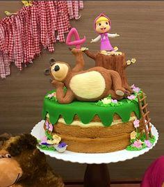2 Year Old Birthday Party, 2 Birthday Cake, Bear Birthday, Masha Cake, Teddy Bear Cakes, Masha And The Bear, Bear Party, Happy Birthday Greetings, Little Cakes