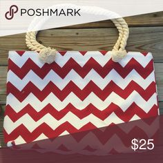 """Canvas Crimson & White Chevron Bag Canvas Chevron Tote Bag Crimson & White   20""""x13""""x5"""" 10"""" drop handle/shoulder strap Zipper closure  Perfect for football, baseball, basketball, soccer, cheer, etc. mom!  Save on a bundle! Lots of clothes, makeup, jewelry and new boutique items. Great for Christmas gift giving or stocking stuffers. I love accepting offers. Bags"""