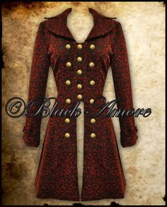VICTORIAN BLACK MILITARY COAT LONG TAILCOAT STEAMPUNK JACKET COPPER RED VTG